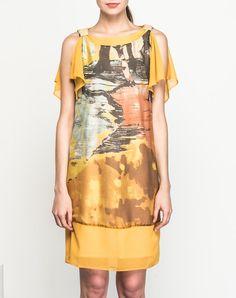 #AdoreWe #VIPme Shift Dresses - SAINTY Yellow Silk Blend Printed Bateau Nckline Mini Dress - AdoreWe.com