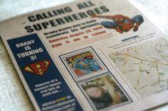 I could make something like this, right?  Superhero newspaper birthday invitations.  :)