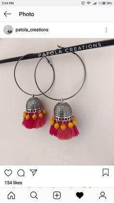 Thread Jewellery, Tassel Jewelry, Fabric Jewelry, Clay Jewelry, Jewelry Crafts, Jewelry Art, Handmade Jewelry, Diy Jewellery, Gold Earrings Designs