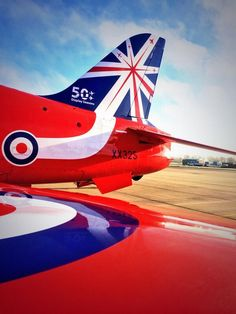 #reds50 Fighter Pilot, Fighter Jets, Raf Red Arrows, Airplane Crafts, Post War Era, Nose Art, Royal Air Force, Beautiful Morning, Aviation Art