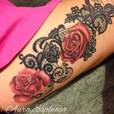Lace tattoo with roses done by our resident artist Aura Espinosa