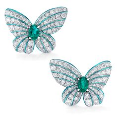 Large Butterfly Earrings with Emeralds and Diamonds Antique Jewelry, Gold Jewelry, Fine Jewelry, Jewellery, Vintage Diamond Wedding Bands, Butterfly Drawing, Largest Butterfly, Butterfly Earrings, Animal Jewelry