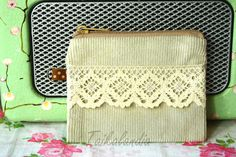 Natural White Corduroy Lace Zipper Pouch Corduroy by TaikaLand Camera Pouch, Lace Decor, Zipper Pouch, Corduroy, White Lace, Zip Around Wallet, Coin Purse, Sewing, Trending Outfits