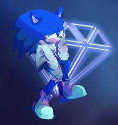 Sonic in his 80s styled outfit