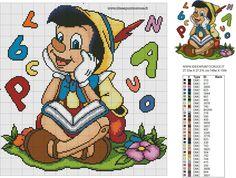 SCHEMA PUNTO CROCE PINOCCHIO Cross Stitch Baby, Counted Cross Stitch Patterns, Cross Stitch Designs, Cross Stitch Embroidery, Pinocchio Disney, Disney Quilt, Stitch Cartoon, Kids Blankets, Alpha Patterns