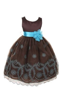 Kids Dream Champagne Floral Embroidered Flower Girl Dress Girls 2T-12 (6, Chocolate)