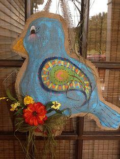 Blue bird burlap Door Hanger