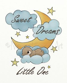 Add this cute sweet dreams teddy bear wall art to a boys or girls nursery decor. PRINT DETAILS: All prints are sold separately they do NOT include matte or frame PRINT SIZE: 8 x 10 BORDER: An additional 1/4 inch white border will make for easy matting. PAPER: Epson premium