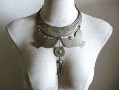 Vintage Etched TRIBAL METAL Thai Bird Bib Necklace
