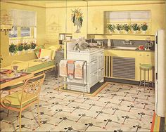 8 Bold Clever Tips: Vintage Home Decor Living Room Interior Design vintage home decor store apartment therapy.Vintage Home Decor Store Apartment Therapy vintage home decor romantic curtains.Vintage Home Decor Farmhouse Wire Baskets. Shabby Chic Vintage, Vintage Room, French Vintage, Decor Vintage, Vintage Homes, Vintage Yellow, 1940s Kitchen, Deco Retro, Brown Kitchens