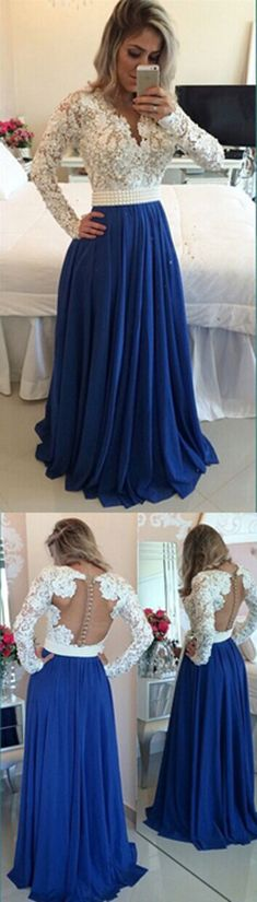 Long Sleeves Chiffon Lace Pearls Chiffon Prom Dress V Neck White&Royal Blue Formal Evening Gown