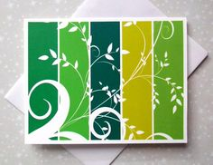 Green Botanicals Color Block Blank Cards 8ct - pinned by pin4etsy.com