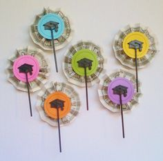 I adapted an idea from Lil' Luna to create my cupcake picks. I used colored cardstock that fits the palette of my Student Loan Payoff Party. I used metallic cardstock to provide another examp… Cupcake Picks, Cupcake Toppers, Pick And Pop, Lil Luna, Gift Cake, Student Loans, Helpful Hints, Card Stock, Create