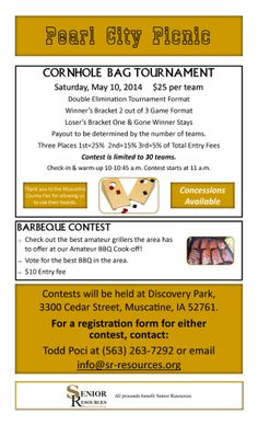 2014 Pearl City Picnic Fundraiser Cornhole Bags Tournament & BBQ Contest Saturday, May 10 at Discovery Park in Muscatine, Iowa For more information, call (563) 263-7292 or email info@sr-resources.org. Fundraising Events, Fundraisers, Fundraising Ideas, Muscatine Iowa, Cornhole Tournament, Pearl City, Vendor Events, Habitat For Humanity, Practical Gifts