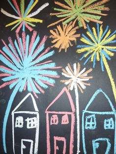 Chalk fireworks on black paper - spray with hairspray to set! Happy Birthday Fireworks, How To Make Fireworks, Fireworks Craft For Kids, Blue Crafts, New Year's Crafts, Easy Paper Crafts, Firework Painting, Fireworks Design, Party