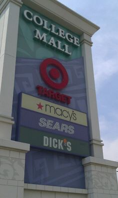 College Mall is the largest shopping center in Bloomington. Includes Target, Macy's, and Sears.