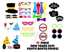 INSTANT DOWNLOAD New YEARS Eve 41 piece Photo Booth Props Printable Download - Craft Decoration Party diy