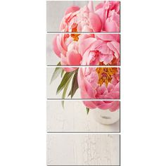 DesignArt 'Peony Flowers in Vase Photography' 5 Piece Graphic Art on Wrapped Canvas Set