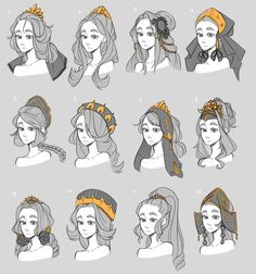 Very original hairstyles and accessories. I like the medieval touch and feeling. Very ori Very original hairstyles and accessories. I like the medieval touch and feeling. Very original hairstyles and accessories. I like the medieval touch and feeling. Character Design Animation, Character Design References, Character Drawing, Character Concept, Character Design Tips, Character Prompts, Character Creation, Concept Art, Drawing Reference Poses
