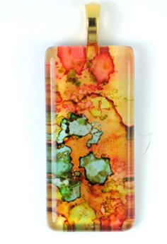 alcohol ink glass pendants - Google Search