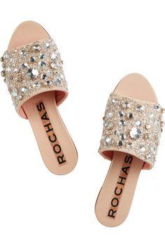 Rochas - Crystal-Embellished Suede and Leather Slides