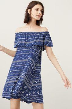 Mango - Sukienka z odsłoniętymi ramionami off shoulder niebieska julio