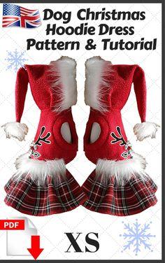 Small Dog Christmas hoodie dress sewing PDF Pattern & Tutorial size-x small. #smalldogfashion #dogcoats #doghoodie #dogclothes #dogclothesdiy #dogclothing #dogclothespatterns #sewingpatterns #patterndogclothes #patternshop #forsmalldog Coat Pattern Sewing, Sewing Patterns, Christmas Dog, Christmas Hoodie, Pekinese, Small Dog Clothes, Dog Clothes Patterns, Dog Hoodie, Dog Dresses