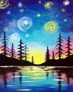 Hey! Check out Starry Lake Sunset at The Purple Pear @ TELUS World of Science - Edmonton - Paint Nite Event