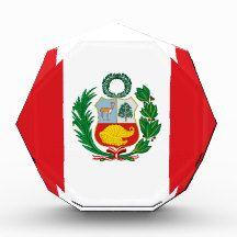 Flag of Peru Awards flag, nation, banner, award, gift, acrylic, octagon, country, zazzle, smallbiz, ecommerce, dww25921