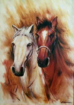 Black & Brown Horses Painting On Canvas - Canvas Wall Decor Horse Drawings, Art Drawings, Horse Pictures, Art Pictures, Horse Artwork, White Horses, Animal Wallpaper, Equine Art, Animal Paintings