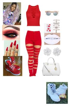 """BLOOD👌"" by chocolatebab ❤ liked on Polyvore featuring WithChic, Michael Kors, Luv Aj and Le Specs"