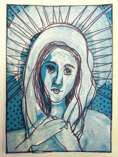 ATC for Mary Queen of Heaven swap.  Pat Wiederspan Jones. Acrylic and pen.
