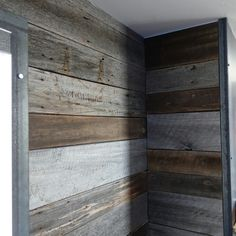 Barndwood accent walls wrapped in steel