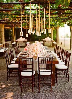 beautiful pendant lighting at this outdoor vineyard wedding reception weddingplanning weddingreception outdoorwedding