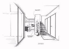 Esquisses par LudovicCADORET/ Architecture Concept Drawings, Architecture Plan, Interior Architecture, Interior Rendering, Interior Sketch, Interior Design, Perspective Drawing, Commercial Design, School Design