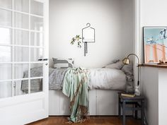Bed alcove in a studio apartment