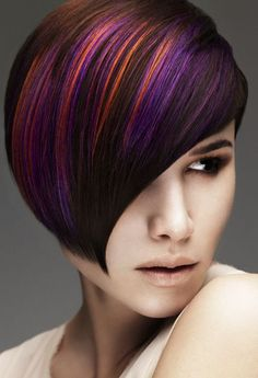 Straight hairstyles by Mark Leeson beautiful vibrant colors....