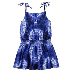 Carter's Little Girls' Tie Dye Jersey Dress Royal Blue). Bright tie dye dress in soft jersey cotton with thin straps and cinched waistline. Toddler Girl Dresses, Toddler Outfits, Kids Outfits, Girls Dresses, Baby Outfits, Toddler Girls, Tie Dye Dress, Knit Dress, Amanda