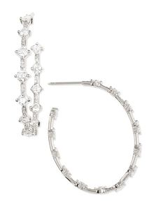 P4636 Maria Canale for Forevermark 18k White Gold Oval Diamond Hoop Earrings, 2.97 TCW
