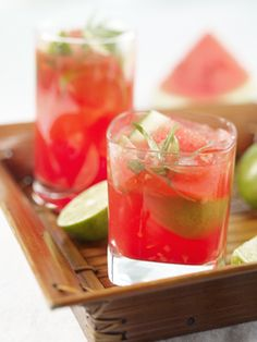 Watermelon Caipirinha- would be great in the watermelon keg.
