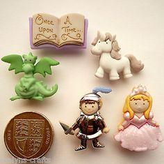 FAIRY+TALE+Craft+Novelty+Buttons+Knight+Princess+Fantasy+Unicorn+Girls+Boys+Play