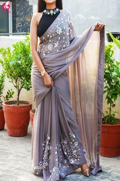 Buy Mauve Grey Pure Silk Chiffon Sequins Pearl Handwork saree - Sarees Online in India Indian Fashion Dresses, Dress Indian Style, Indian Designer Outfits, Designer Dresses, Buy Designer Sarees Online, Saree Fashion, Indian Designer Sarees, Bollywood Fashion, Slides Outfit