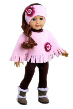 This 4 piece colorful outfit is perfect for a stroll. Stylish pink poncho and matching headband goes perfectly with brown leggings and brown sherpa boots.    Doll outfit contains a wide back closure for easy dressing and clothing removal. Our doll clothes fits 18 inch American Girl dolls. Designed in the USA and sold Exclusively by DreamWorld Collections. DOLL(S) NOT INCLUDED U.S. CPSIA CHILDREN'S PRODUCTS SAFETY CERTIFIED