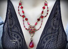 Ornate Ruby Victorian Necklace Ruby Gothic by LaVieilleLune