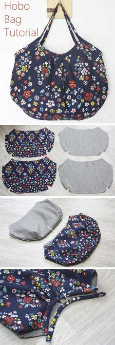 Reversible Hobo Tote Bag. How to sew DIY Picture Tutorial.   http://www.handmadiya.com/2015/11/hobo-bag-tutorial.html