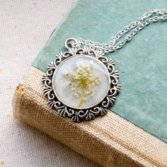 pressed flower necklace resin necklace queen by StudioBotanica, $38.00