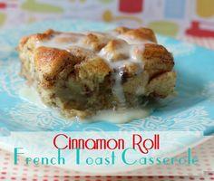 Cinnamon Roll French Toast Casserole Recipe! {um... YUM!} #french #toast #recipes