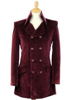 Velvet Goldmine Retro Mod High Collar Velvet Jacket in wine. Double breasted fasten, Edwardian style dress coat with a genuine Vintage Sixties vibe from Madcap England.