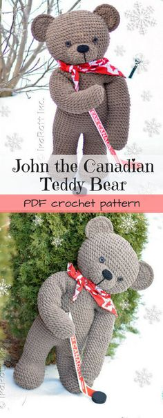 PDF crochet pattern for this large adorable hockey-playing amigurumi teddy bear! #etsy #ad