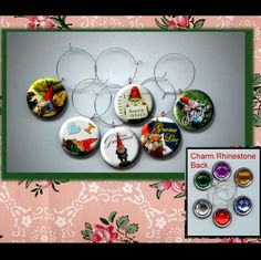 Gnomes Renaissance magic,  Alchemy,  garden or lawn gnome little people Wine Party Glass Marker Charms Set photo jewelry altered art by Yesware11 on Etsy.. click for details!